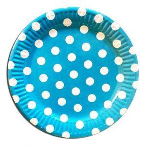красивые тарелки в голубой горошек на праздник