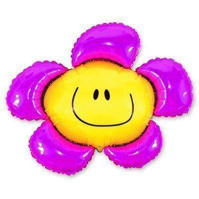 Фольгированный шар цветок фиолетовый с улыбкой