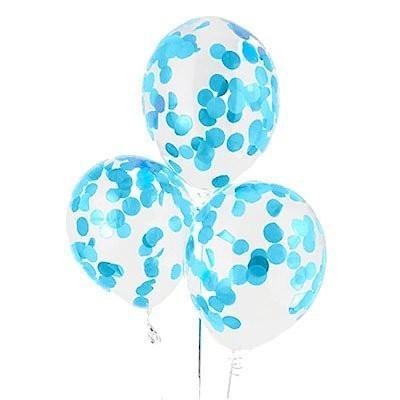 Прозрачный гелиевый шар с голубым конфетти