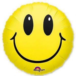 Фольгированный шар смайлик желтый
