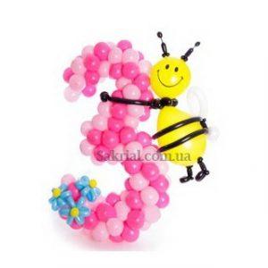 Цифра из надувных шаров с пчелкой