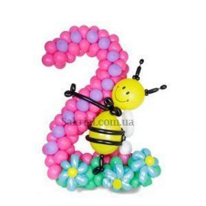 циферка два из шаров и пчелки