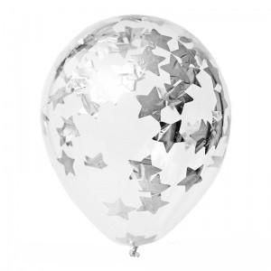 Купить Прозрачные Шары с Конфетти Серебряные Звезды