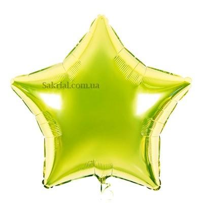 фольгированная звезда салатового цвета