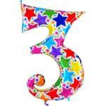 Купить Фольгированную цифру «3» звезды голография