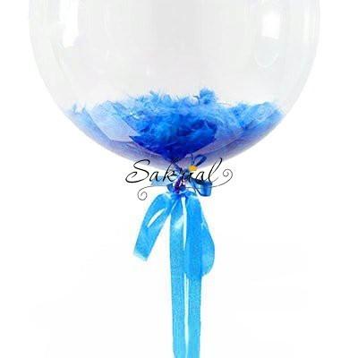 Купить Шар Bubble с Синими Перьями