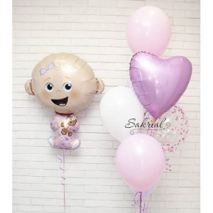 Оформление шариками на выписку девочки