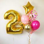 Готовый набор шаров девочке на 2 годика
