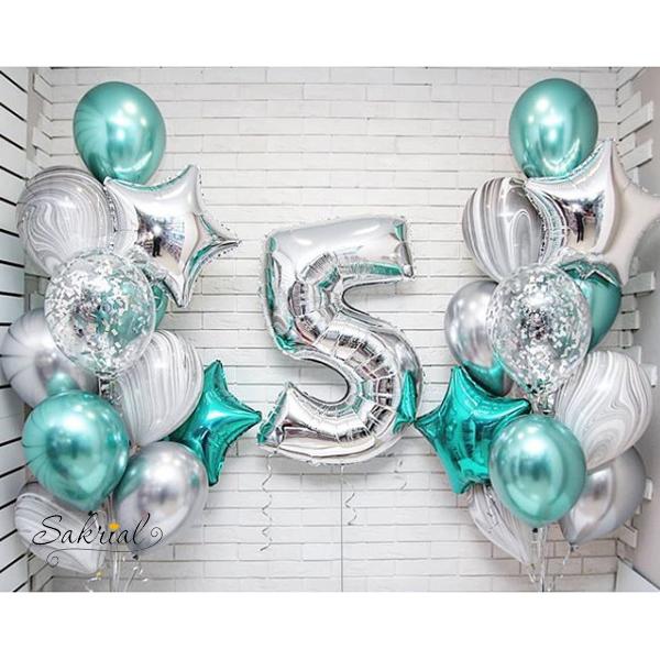 Красивое оформление шарами на 5 лет