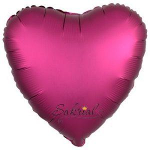 Шар Сердце Сатин «Бургундий»