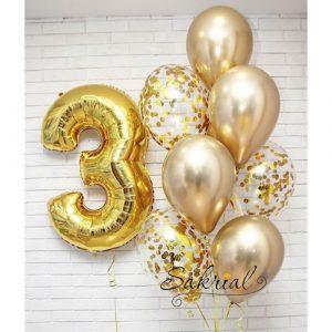 Красивый подарок с цифрой на 3 годика