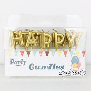 Свечи для торта золотые буквы «Happy Birthday»