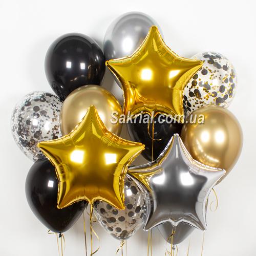 Красивый Черно-золотой набор шаров в Киеве