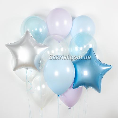 Голубой набор шаров с прозрачными шариками