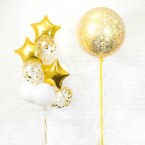 Красивое украшение шарами в золотом цвете