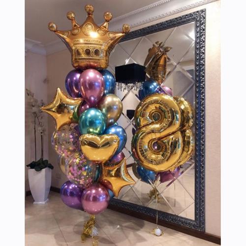 Красивые шарики с короной на День рождения