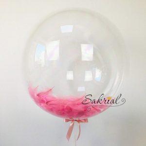 Шар Bubble с Розовыми Перьями