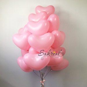 Заказать Облако Шаров Розовые Сердца