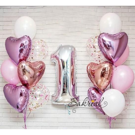Очень Красивый сет из шариков на годик для девочки