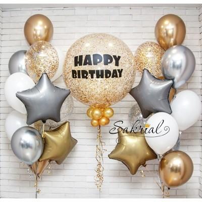 Готовый вариант подарка из шаров на День рождения