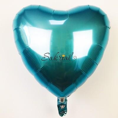 Фольгированный шар Сердце Голубое Металлик