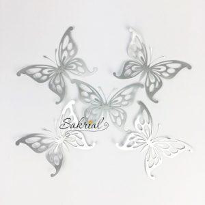 Серебряные Бабочки для Шаров 5шт