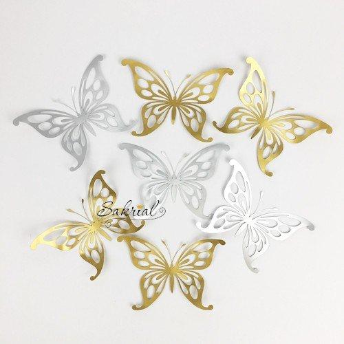 Бабочки золото/серебро 7шт