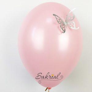 Розовые Шары Пастель с Серебряной Бабочкой