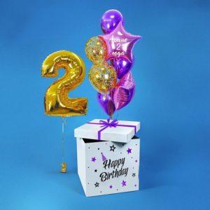 Коробка с шарами и цифрой