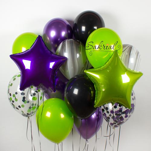 Оригинальный набор шаров в зелено фиолетовом цвете