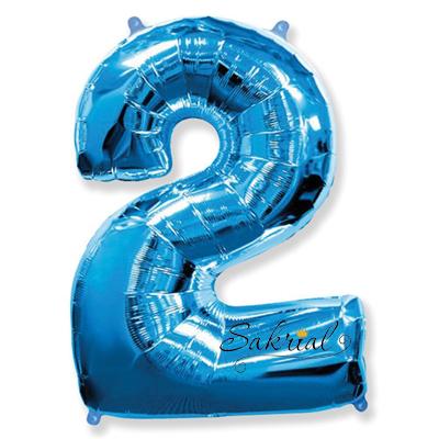 Фольгированная цифра «2» синяя