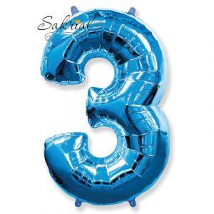 Фольгированная цифра «3» синяя