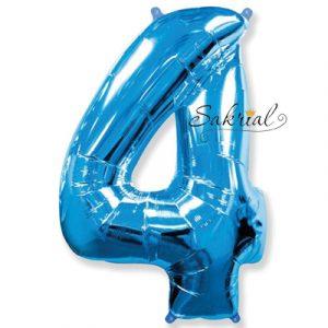 Фольгированная цифра «4» синяя