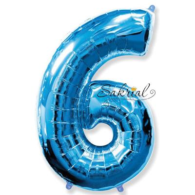 Фольгированная цифра «6» синяя