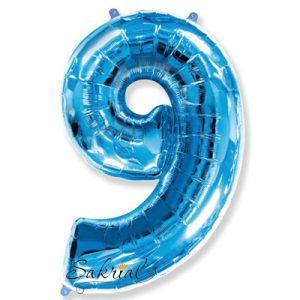 Фольгированная цифра «9» синяя