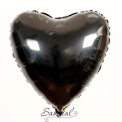 Фольгированное сердце чёрное шарик