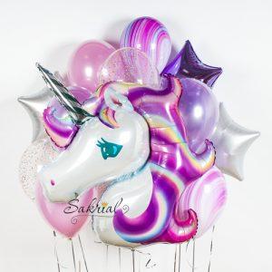 Набор шаров с фиолетовым единорогом