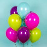 Разноцветные дизайнерские гелиевые шары