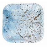 Купить Бумажные Тарелки голубые с золотом в Киеве
