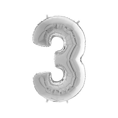 Шарик фольгированная цифра 3