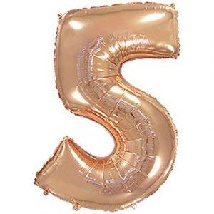 Шарик фольгированная цифра 5 розовое золото купить в киеве