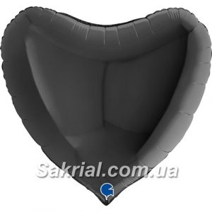 Большое сердце чёрное шарик
