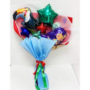 Оригинальный букет из шариков с туканом и русалкой