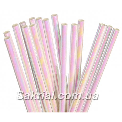 Нежно розовые голографические трубочки