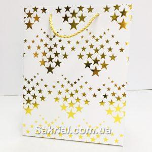 Подарочный пакет золотые звёзды