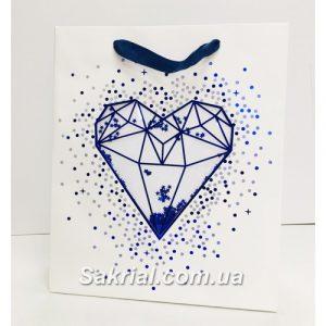 Купить Подарочный пакет синий алмаз с конфетти