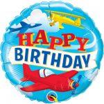 Фольгированный шарик на день рождения с самолётами