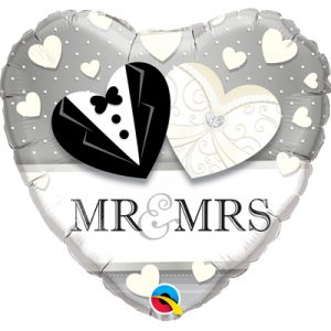 Фольгированный шар сердце Mr.&Mrs. купить на свадьбу шарики