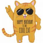 Шарик в форме кота в очках на день рождения
