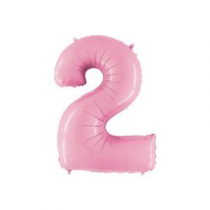 Розовая цифра 2 шарик с гелием